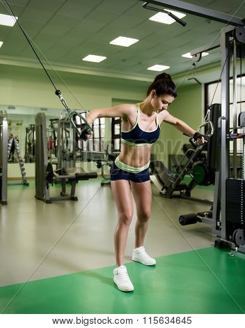 Young Pretty Woman Pumping Up Muscles With Training Apparatus
