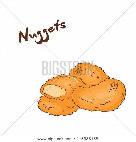 Vector Illustration Of Isolated Cartoon Hand Drawn Fast Food. Chicken Nuggets