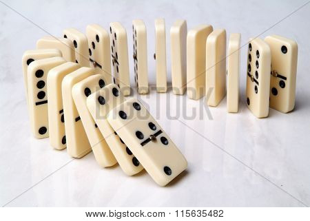 Group Of Domino Tiles In A Semicircle