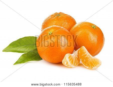 Ripe Mandarines With Leaves Close-up On A White Background. Tangerines With Leaves On A White Backgr