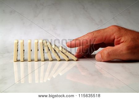 Row Of Dominoes Pushed