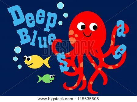 Happy Octopus Swimming With Two Fish