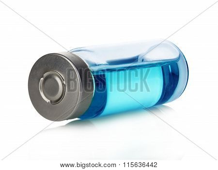 Vial With Blue Solution Isolated On A White Background.