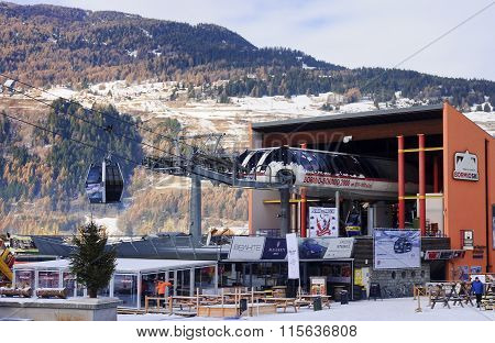 Bormio, Italy - January 8, 2016: Ski Lift In Bormio On 8 January