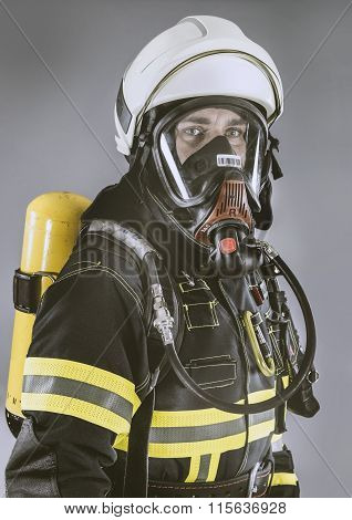 German Firefighter in full professional Clothing