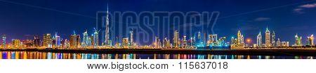 Night Panorama Of Dubai Downtown - The Uae