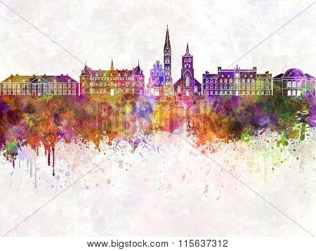 Odense Skyline In Watercolor Background