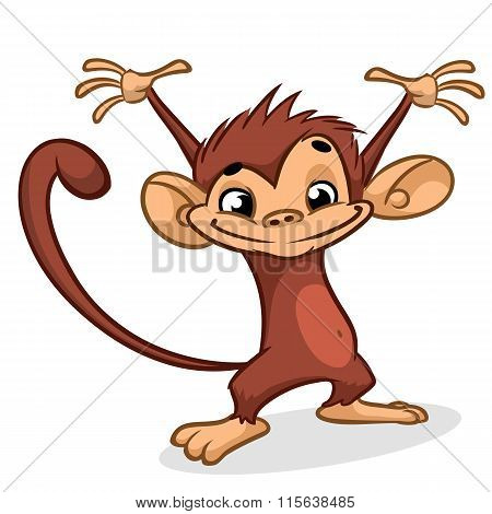 Illustration of a chimp character with hands up. Vector Dancing Monkey for Chinese New Year