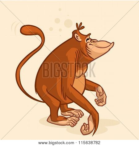 Cheeky orangutan monkey character. Vector mascot for Chinese New Year (Lunar New Year)