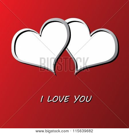 Valentines Card With Two Hearts And Place For Your Text