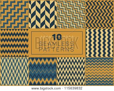 Set of Ten Vector Seamless Hand Drawn Rough Line Geometric ZigZag Chevron Patterns in Yellow and Blu