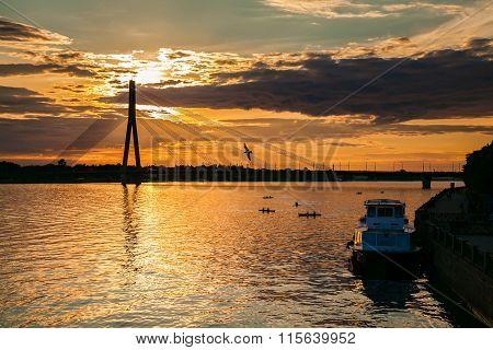 Sunset Over The River Daugava In Riga