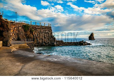 Concrete Beach Near Complex Lido In Funchal