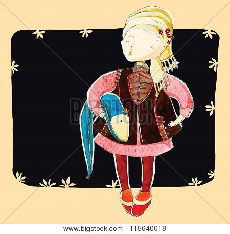 Vector illustration, cute girl in fashion, cartoon concept, with styled background.