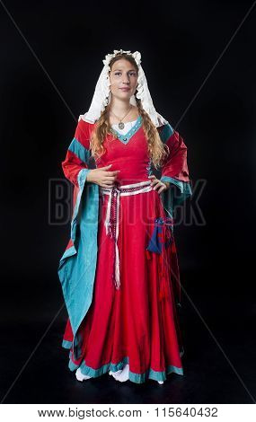 Portrait Of Medieval Girl Wearing Red