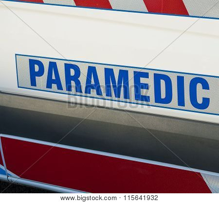 Paramedic sign on an ambulance