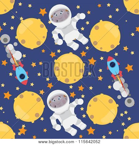 Childish seamless space pattern with planets, UFO, rockets and stars.