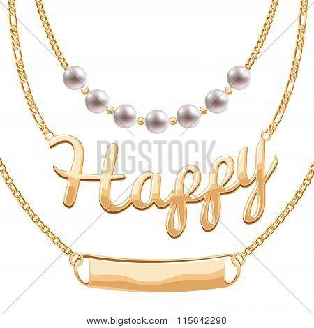 Golden chain necklaces set with pendants.