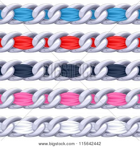 Silver chains set with colorful fabric ribbon vector brush.