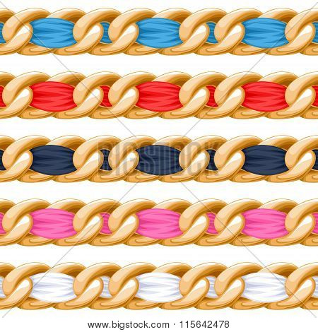 Golden chains set with colorful fabric ribbon vector brush.