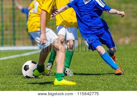 Children Playing Soccer Football Match