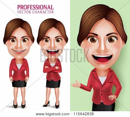 Professional School Teacher or Businesswoman Vector Character Smiling