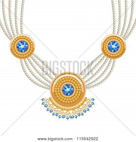 Golden round pendants necklace with jewelry gemstones on diamond chains.
