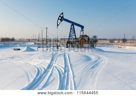 Oil Derricks In Winter