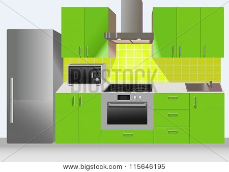 Modern Green Kitchen Interior With Refrigerator, Microwave And Stove