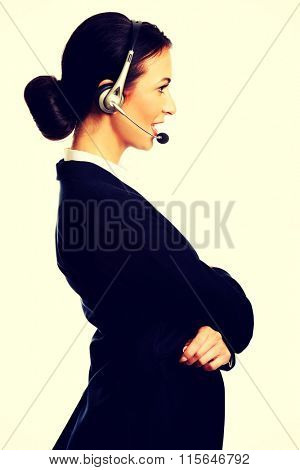 Happy phone operator in headset