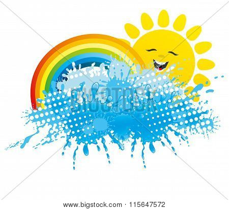 Sun, rainbow and a splash of water
