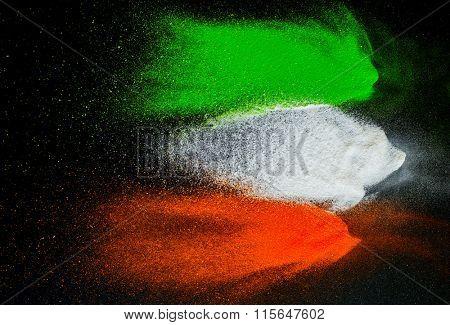 Indian Independence Day celebration background. Symbolic flag colors on dark background.