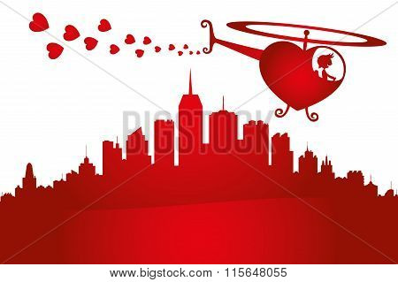 Helicopter in the form of heart