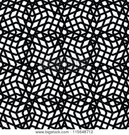 Geometric Messy Lined Seamless Pattern, Monochrome Vector Endless Background. Decorative Expressive