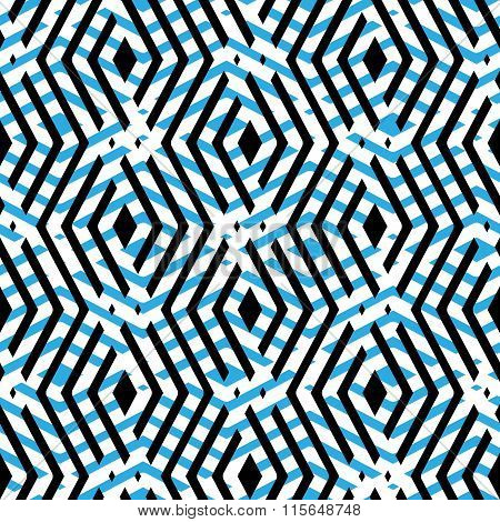 Blue Rhythmic Textured Endless Pattern, Overlay Continuous Creative Textile, Geometric