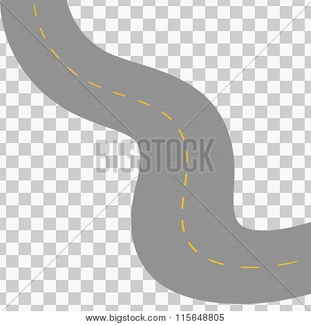 Curved road with white markings. Vector