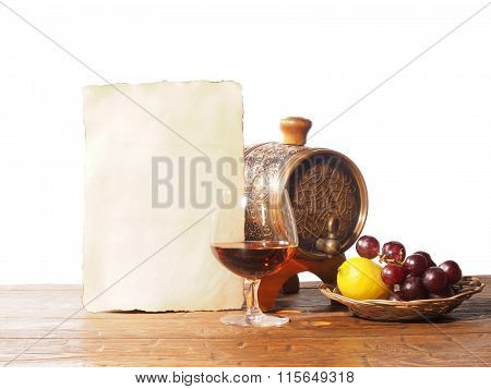 Glass Of Brandy, Barrel, Old Paper Isolated On A White Background