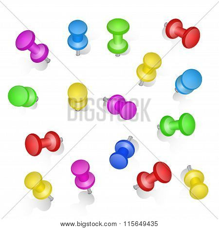 Set of push pins in different colors. Thumbtacks. Top view. Vector illustration. Isolated on white b