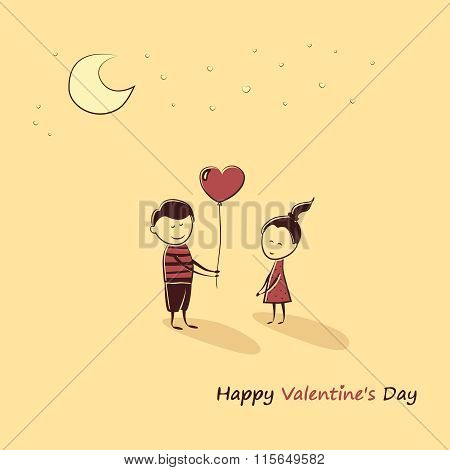 Doodle lovers: a boy and a girl with a balloon heart. Text Happy Valentine's Day.