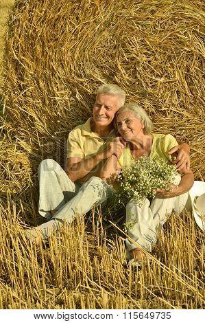 Senior couple  in  field