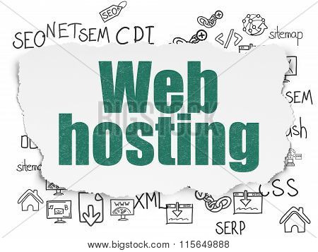 Web development concept: Web Hosting on Torn Paper background