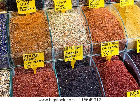 Pepper and other spices at a market