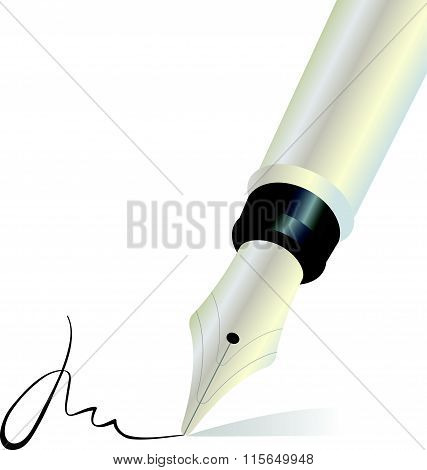 Signing with a fountain pen isolated object