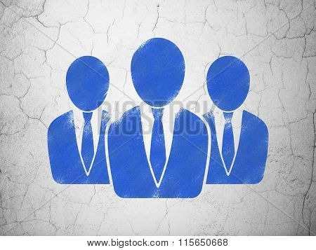 Advertising concept: Business People on wall background