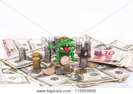 Greedy Leprechaun On The Pile Of Money With Thumb Up