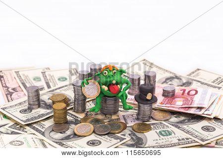 Leprechaun On The Pile Of Money With Euro