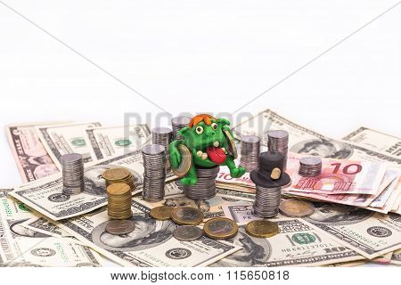 Leprechaun On The Pile Of Money With Euro Coins