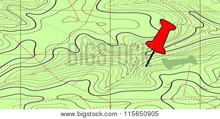 Abstract  Topography map on braun  Background vector