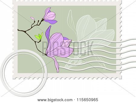blank post stamp with magnolia . Vintage style