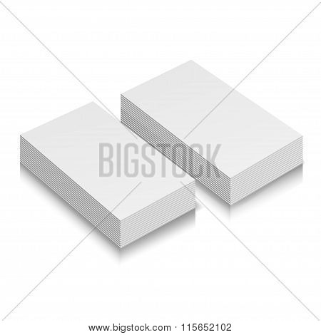 Stack of blank business cards on white background with soft shadows. Vector illustration. EPS10.